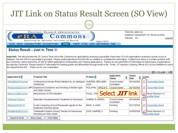 JIT Link on Status Result Screen (SO View)