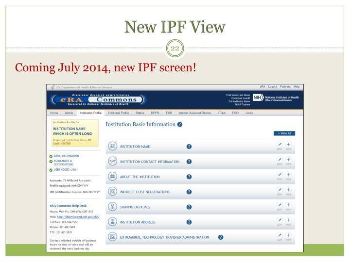 New IPF View