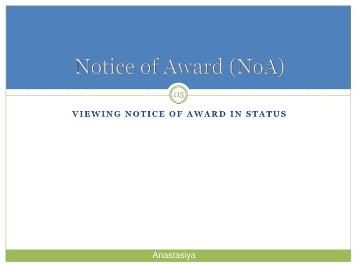 Notice of Award (
