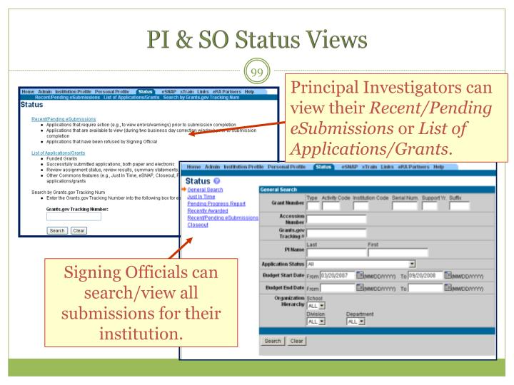 PI & SO Status Views