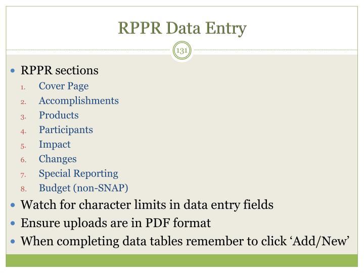 RPPR Data Entry