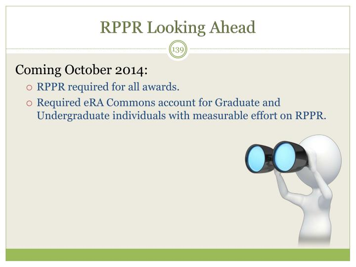 RPPR Looking Ahead