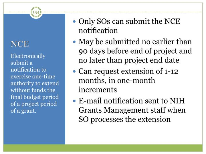 Only SOs can submit the NCE notification