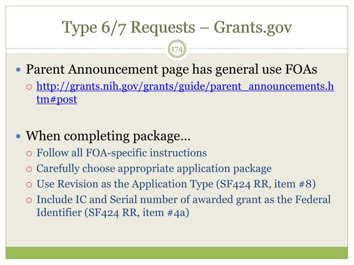 Type 6/7 Requests – Grants.gov