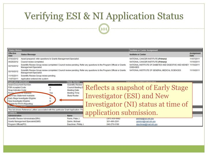 Verifying ESI & NI Application Status