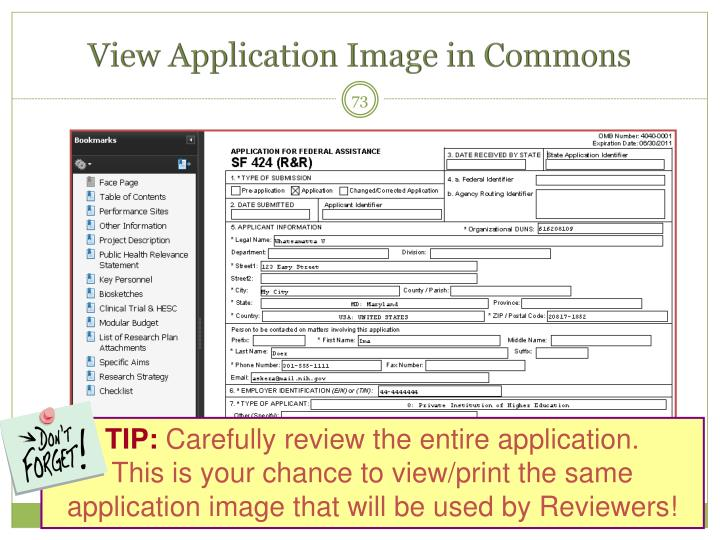 View Application Image in Commons