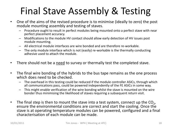 Final Stave Assembly & Testing