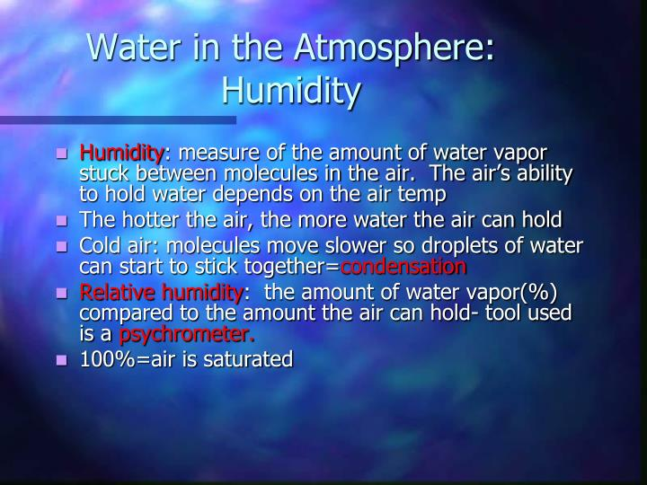 Water in the Atmosphere: Humidity
