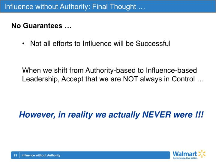 Influence without Authority: