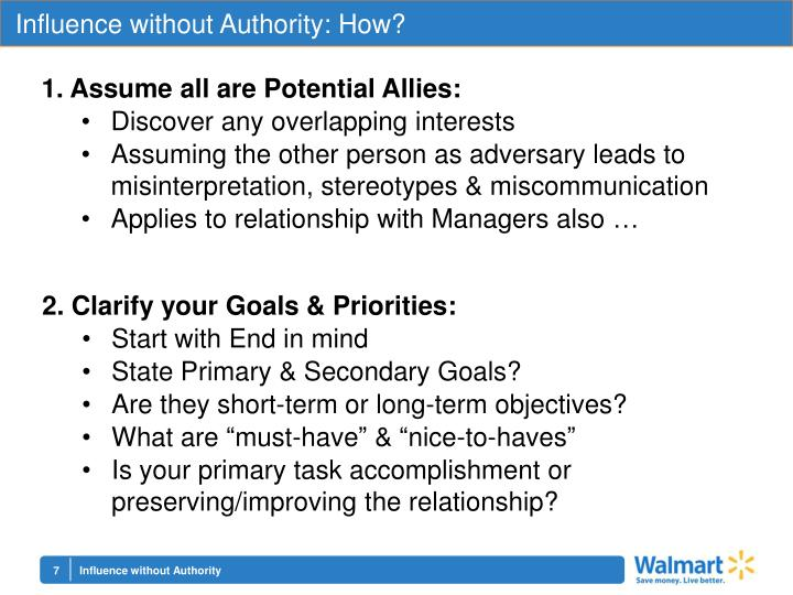 Influence without Authority: How?