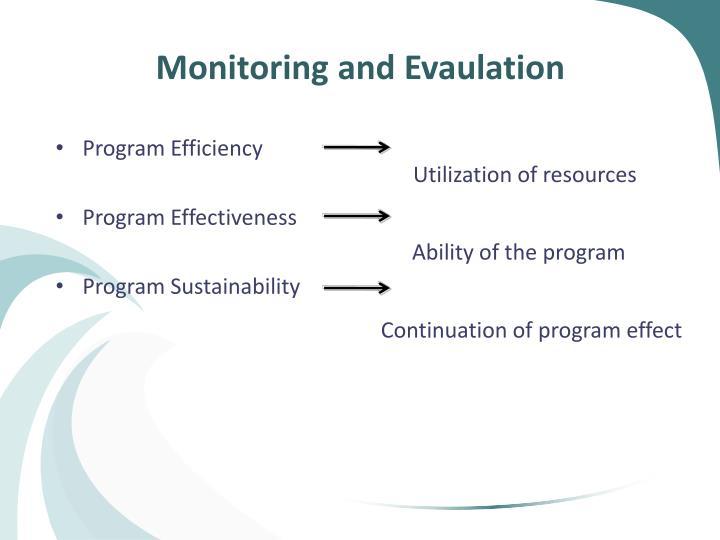 Monitoring and Evaulation