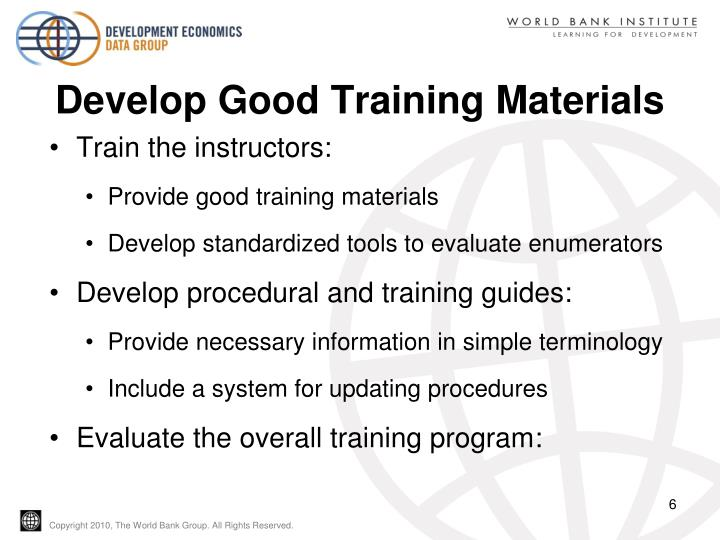 Develop Good Training Materials