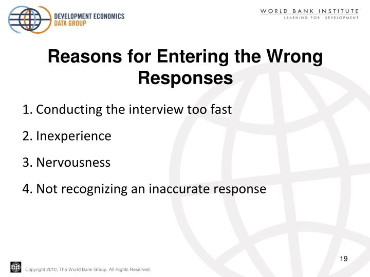 Reasons for Entering the Wrong Responses