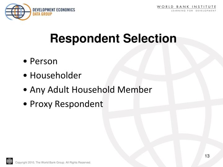 Respondent Selection