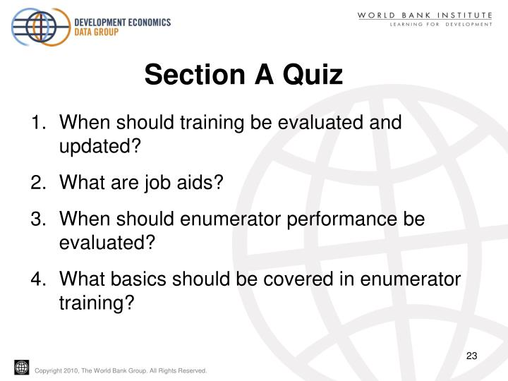 Section A Quiz