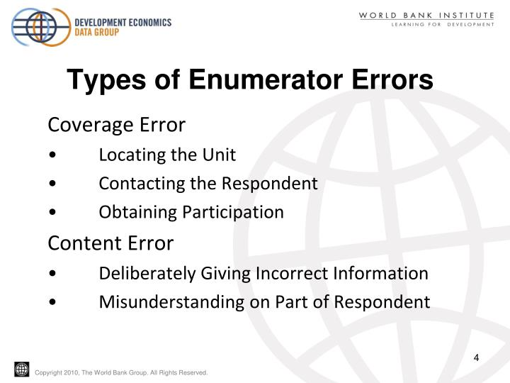 Types of Enumerator Errors