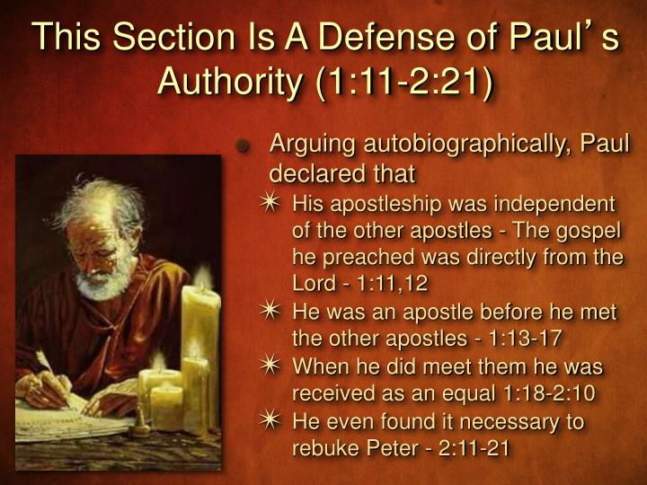 This Section Is A Defense of Paul
