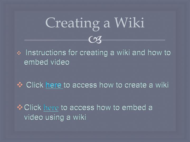 Creating a Wiki