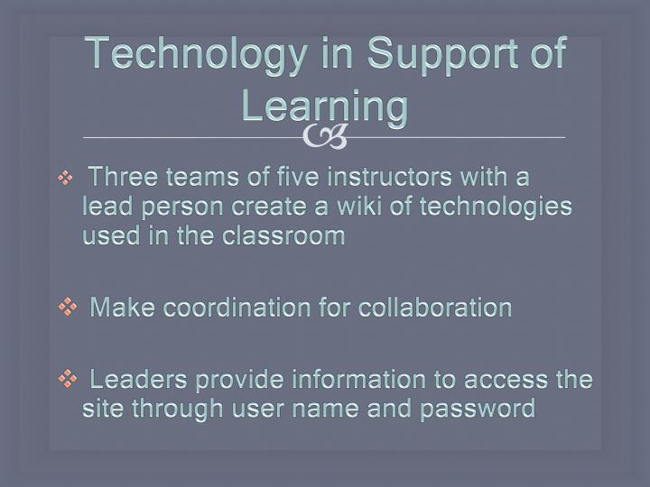 Technology in Support of Learning