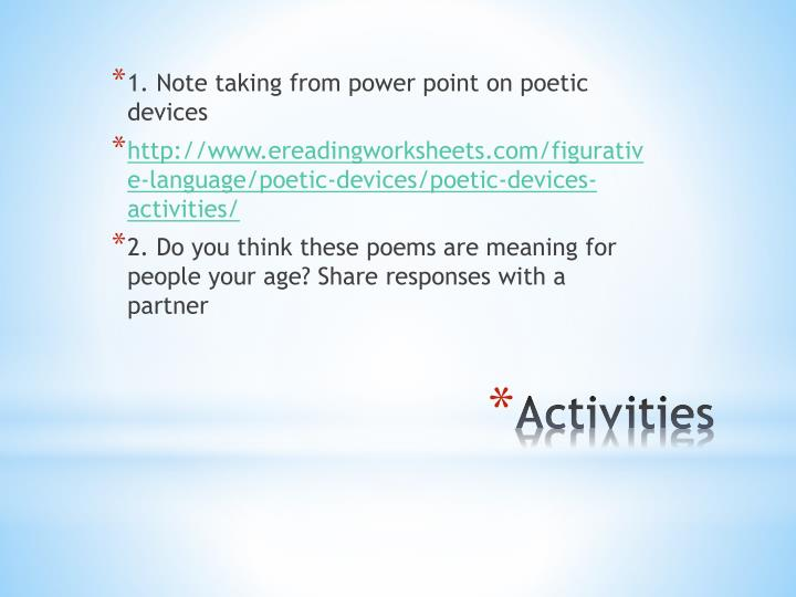 1. Note taking from power point on poetic devices