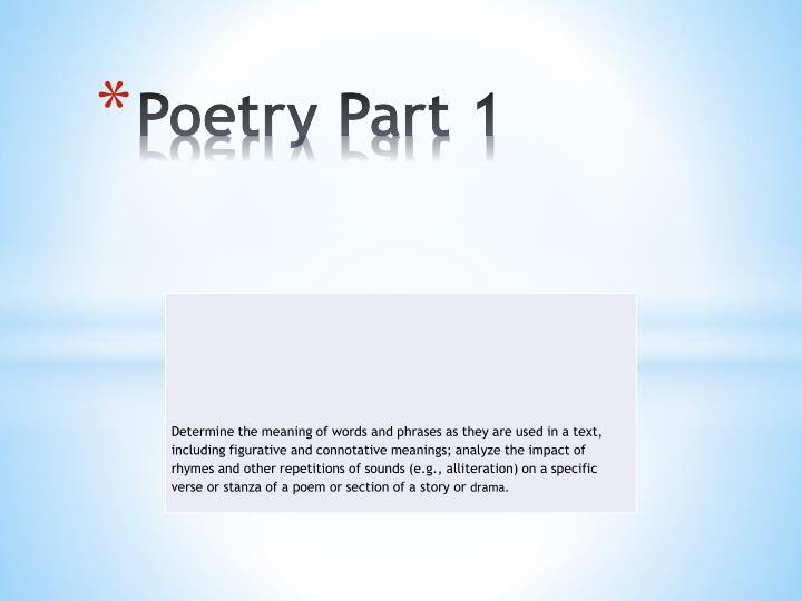 Poetry Part 1