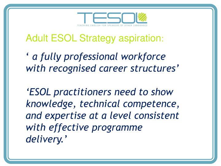 Adult ESOL Strategy aspiration