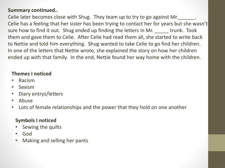 Summary continued..