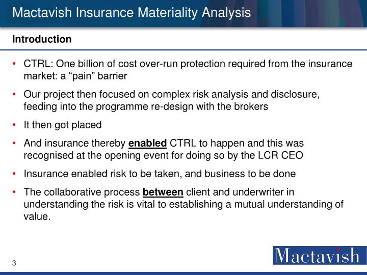 Mactavish insurance materiality analysis1