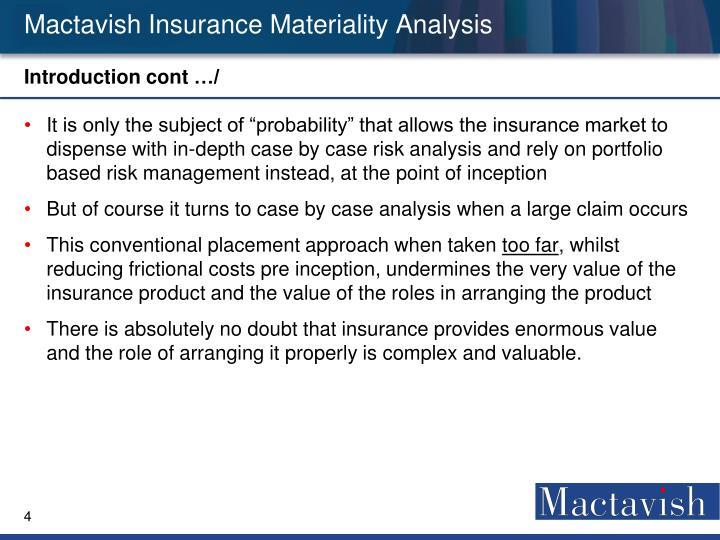 Mactavish Insurance Materiality Analysis