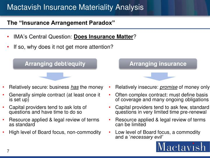 Mactavish Insurance Materiality Analysis