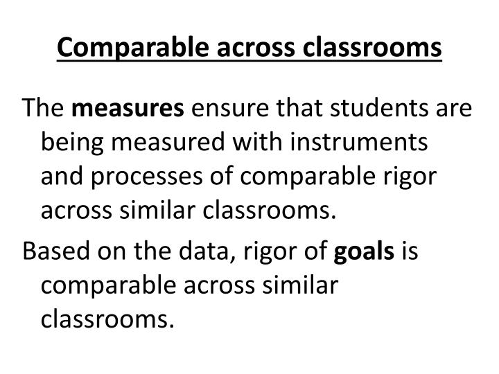 Comparable across classrooms
