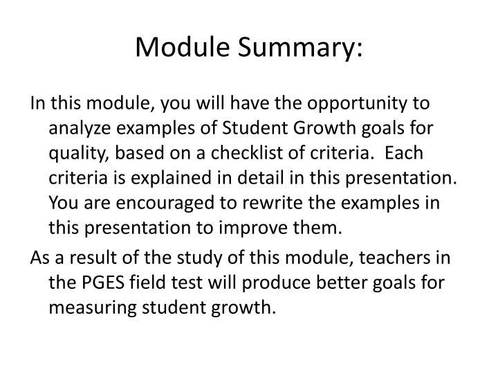 Module Summary: