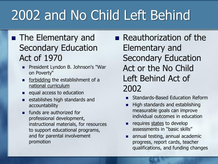 2002 and No Child Left Behind
