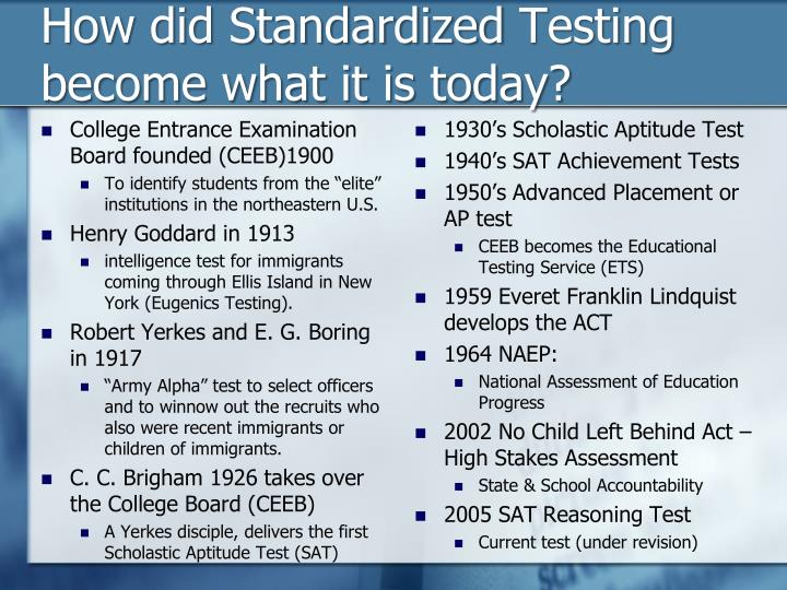 How did standardized t esting become what it is today