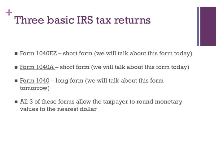 Three basic IRS tax returns