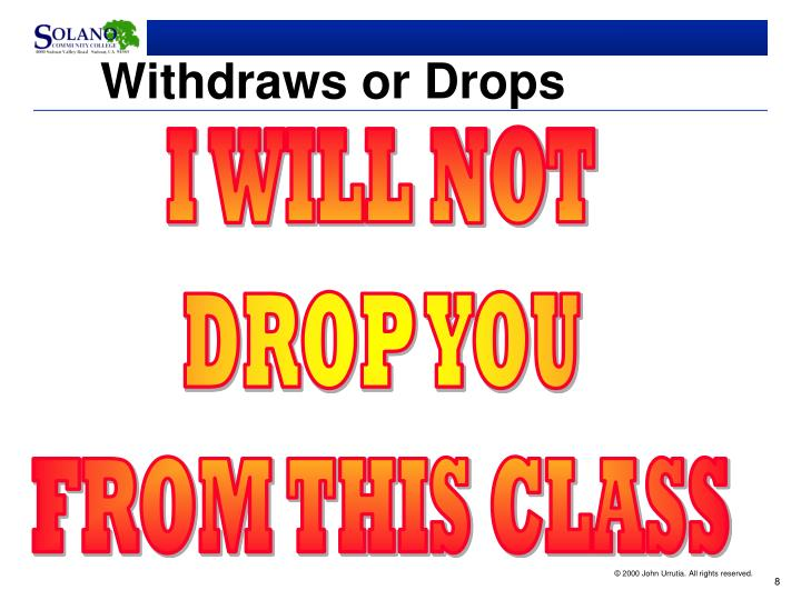 Withdraws or Drops