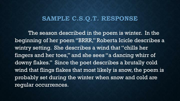 Sample C.S.Q.T. response