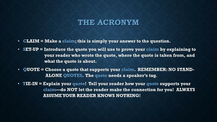 THE acronym