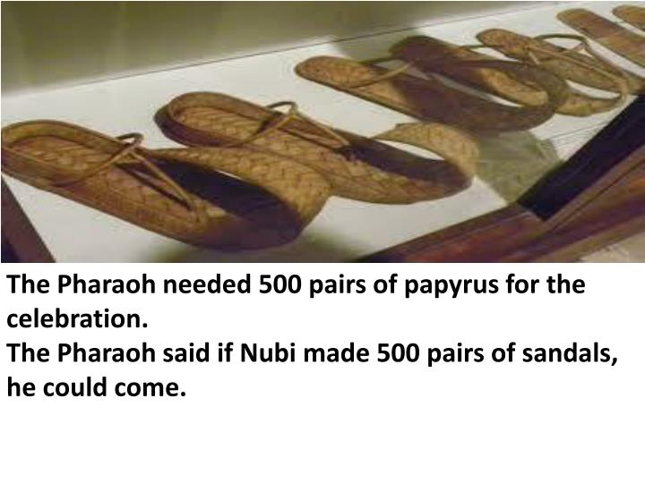 The Pharaoh needed 500 pairs of papyrus for the celebration.