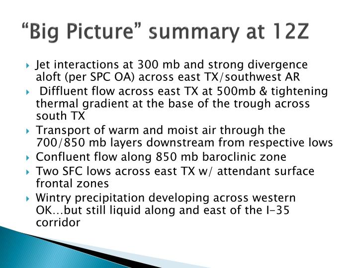 """Big Picture"" summary at 12Z"