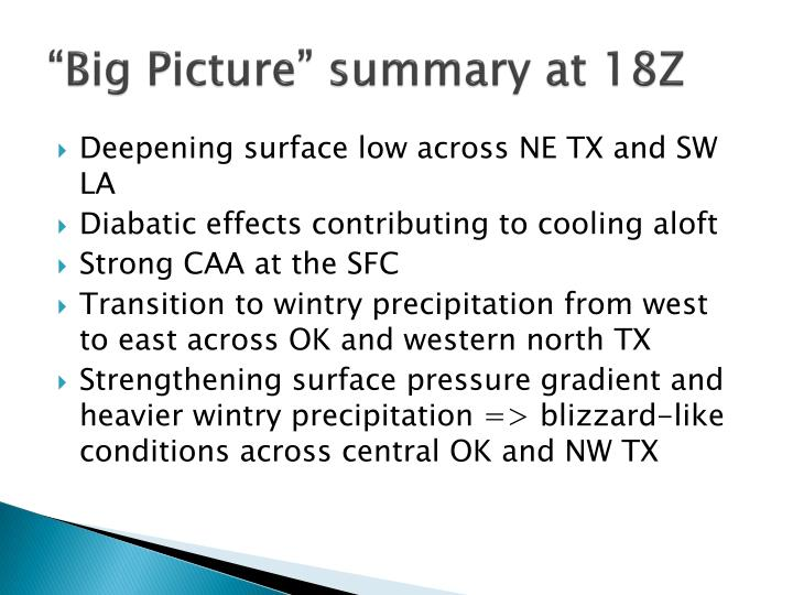 """Big Picture"" summary at 18Z"