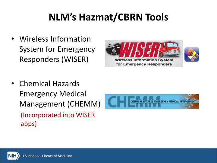 NLM's Hazmat/CBRN Tools
