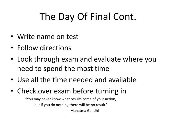 The Day Of Final Cont.
