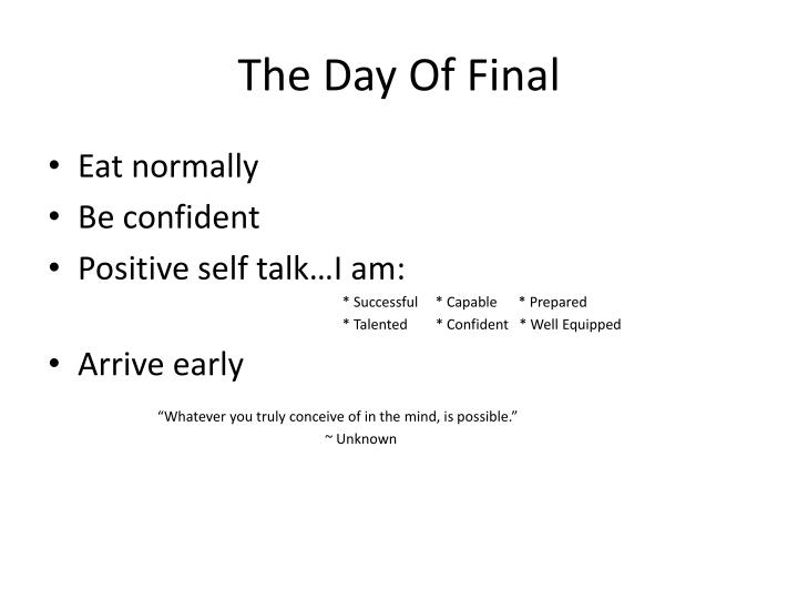 The Day Of Final