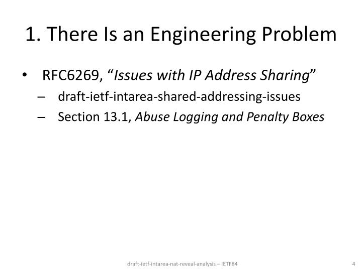 1. There Is an Engineering Problem