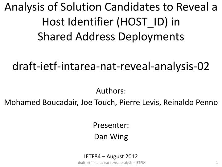 Analysis of Solution Candidates to Reveal a Host Identifier (