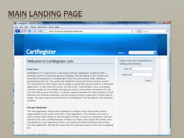 Main Landing Page
