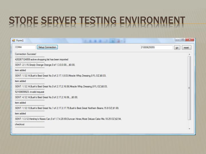 Store Server Testing environment