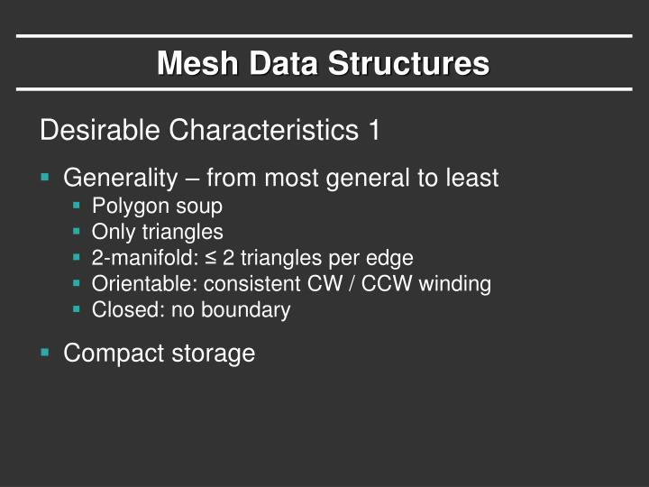 Mesh Data Structures