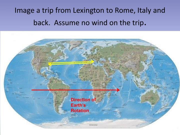 Image a trip from Lexington to Rome, Italy and back.  Assume no wind on the trip